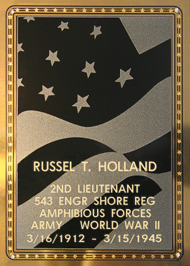 Russell T. Holland Plaque